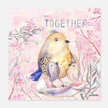 Muttertag Together - Vogelfamilie - Poster