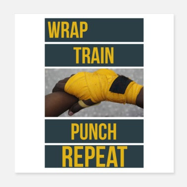 Punch Bokstraining Boxer Quote Wrap Train Punch - Poster