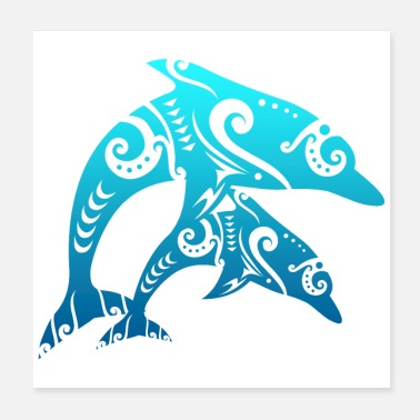 Tribal Maori Par Dolphins Tribal Tattoo Blue Gift - Poster