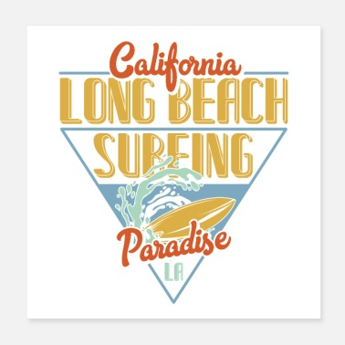 Hollywood Langer Strand Surfen - Poster