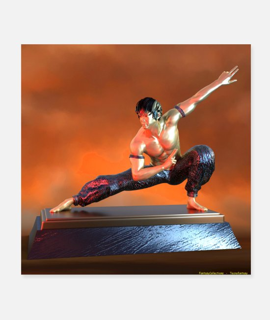 Martial Arts Posters - METAL ARTS MARTIAL STATUETTE 1 - Posters white