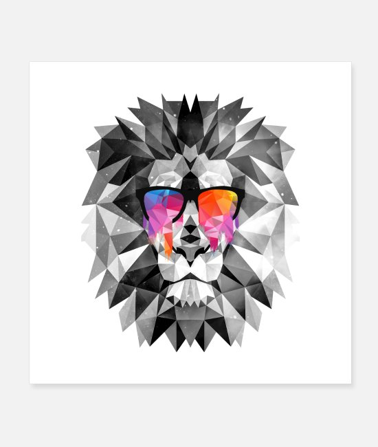 Hipster Posters - Lion Cat of Prey Low Poly - Posters white