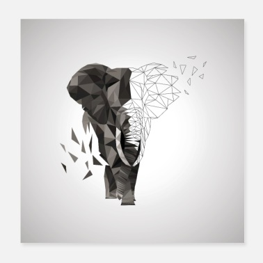 Ivory Elephant Low Poly - Poster