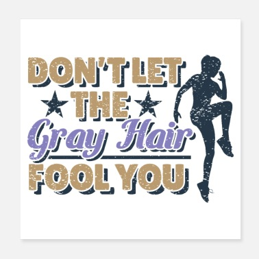 Female Race Cute Grandma Runner Running Silver Gray Hair Cool - Poster