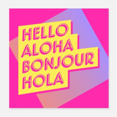 Language Hello in four languages. - Poster