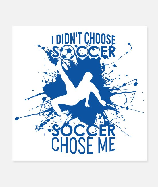 Motivation Posters - Cool soccer player blue background with saying - Posters white
