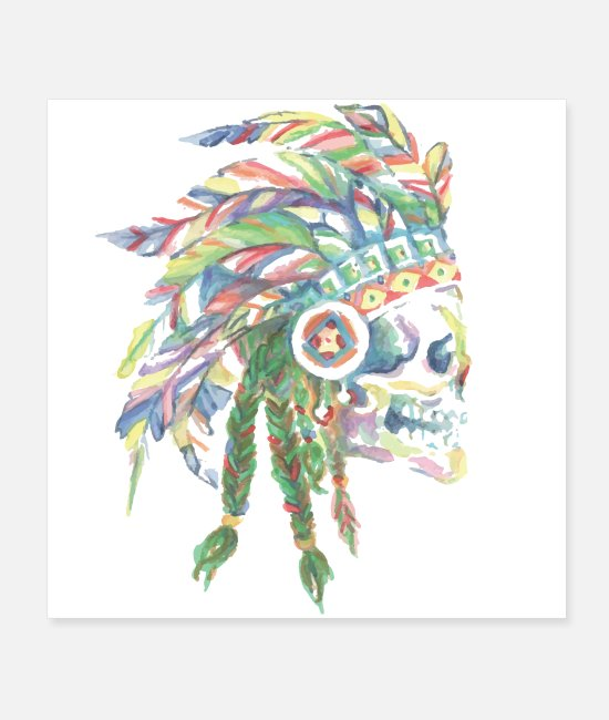 Artist Posters - Indian head watercolor poster - Posters white