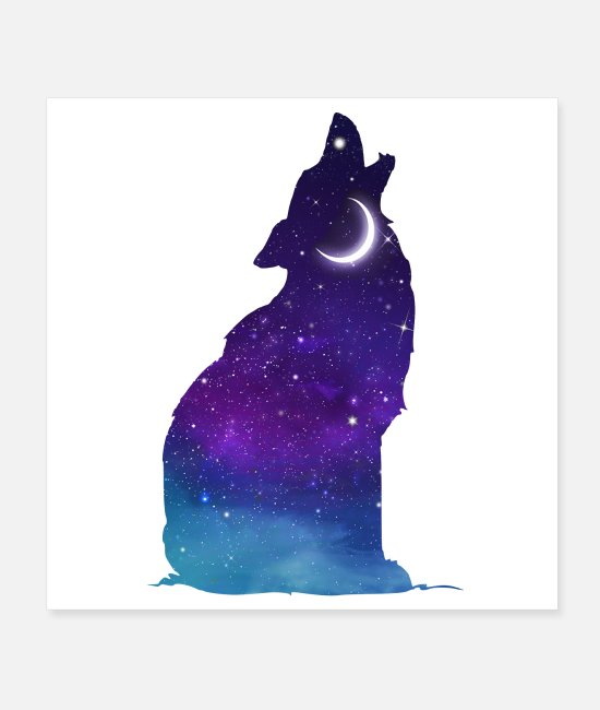 Full Moon Posters - wolf dog wild animal animal moon star night - Posters white
