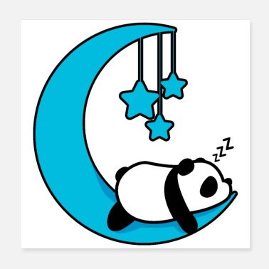 Late Risers Sleeping panda chilling in the moon bed - Poster