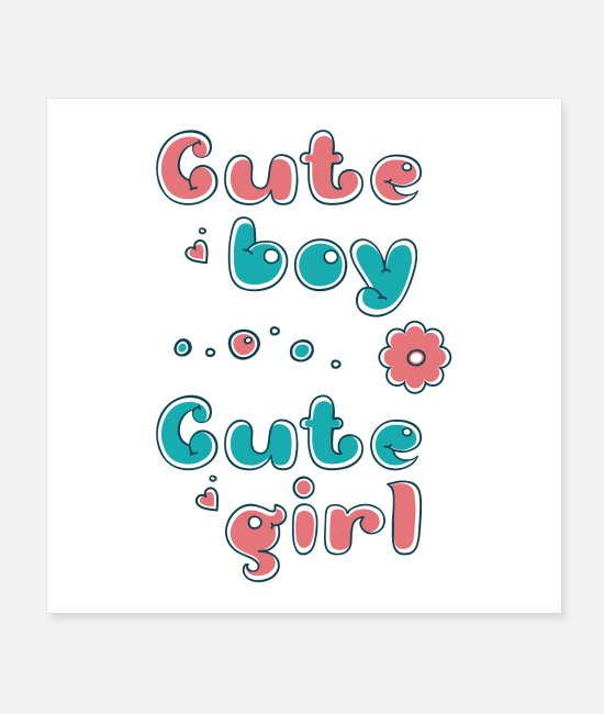 Pregnancy Posters - cute boy - cute girl - Posters white