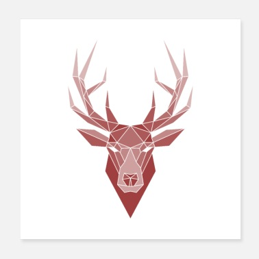 Origami Deer polygon origami - Poster