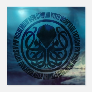 Rlyeh Cthulhu Incantation Circle Poster Blue - Poster