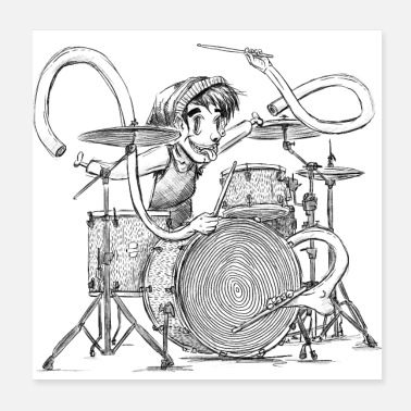 Musik Drummer with Sticks / Schlagzeuger - Poster