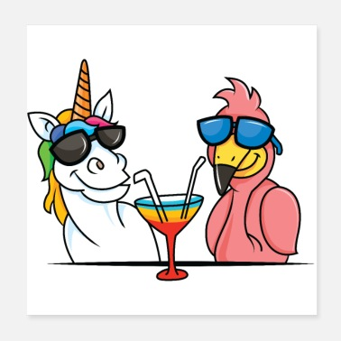 Party Unicorn and flamingo - Poster