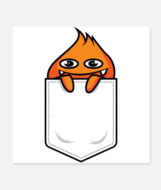 Alien Posters - Cute orange monster looks out of his pocket - Posters white