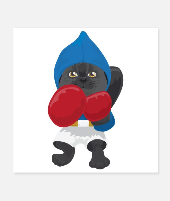 Martial Arts Posters - Boxing cat gift idea - Posters white