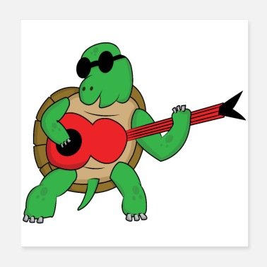 Guitare Turtle rocks avec guitare cool - Poster