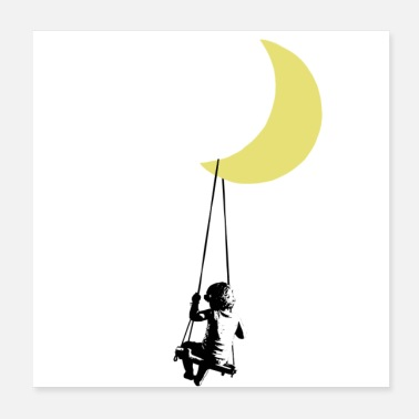 Moon Banksy toddler on swing under moon - Poster