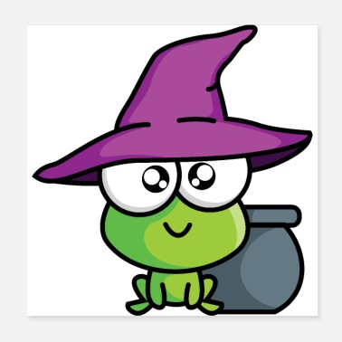 Little Creatures Little green magic creature with magic pot and hat - Poster