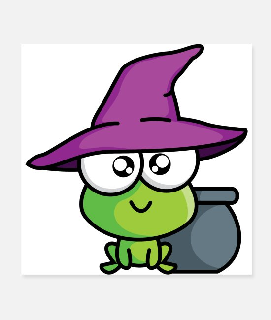 Frog Posters - Little green magic creature with magic pot and hat - Posters white