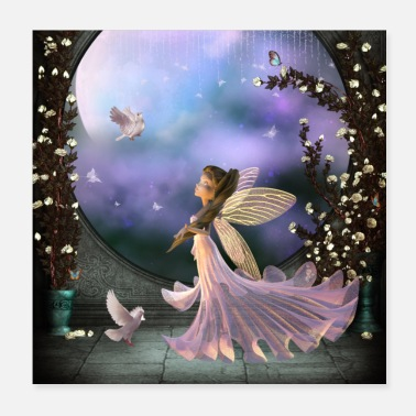 Fairy Little fairy with pigeon - Poster