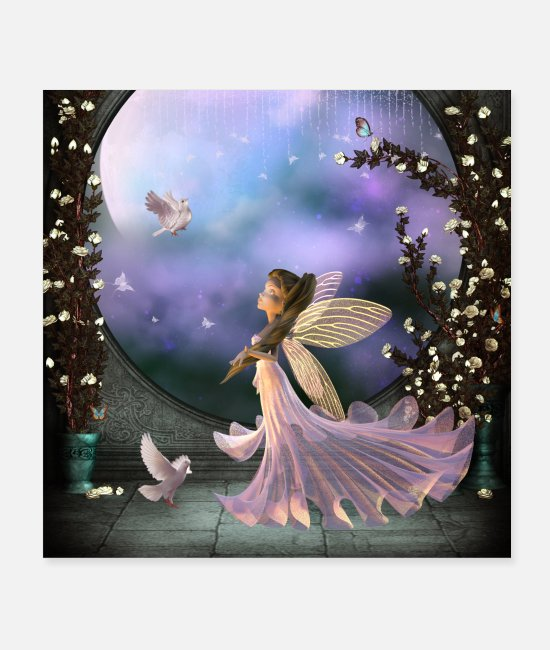 Alas Posters - Little fairy with pigeon - Posters white