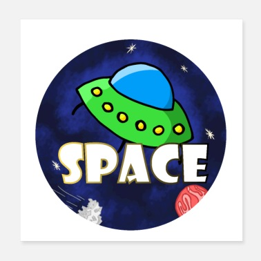 Space Ship UFO in Space Space - Poster