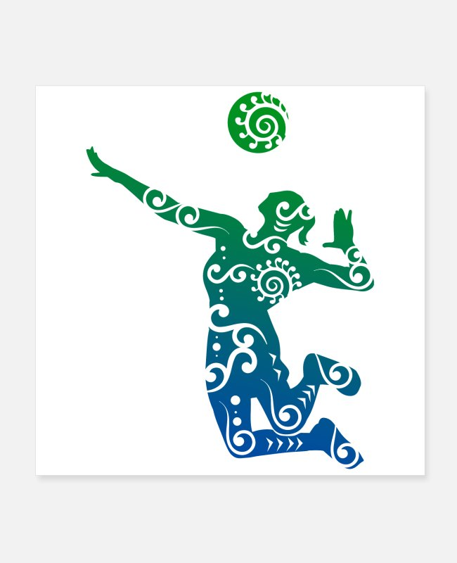 Player Posters - Volleyball player Maori style gift idea - Posters white
