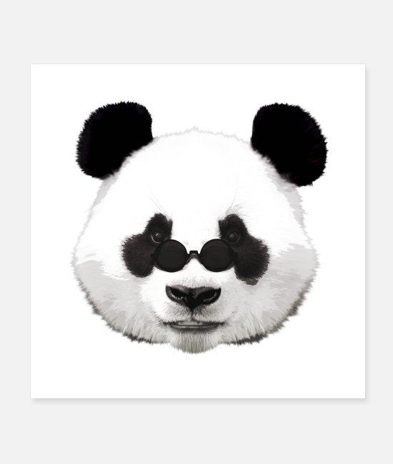 Red Posters - Panda hipster - Posters white