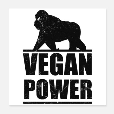 Muskelman Vegan Power Gorilla Plant Based Gift Idea - Poster