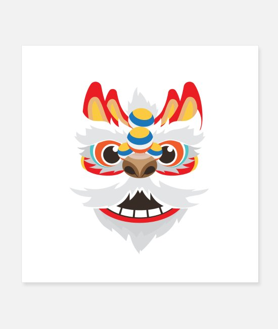 Porcelain Posters - China Chinese Guardian Lion Funny Gift - Posters white