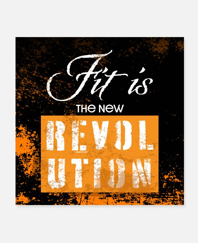 Training Posters - Fit is the new revolution white orange poster - Posters white