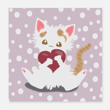 Kawaii Love the cat - Poster