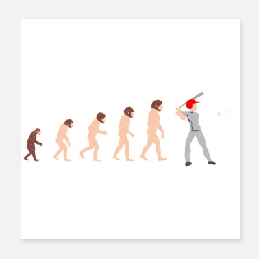 Pitcher Human Evolution Baseball Player Rolig gåva - Poster
