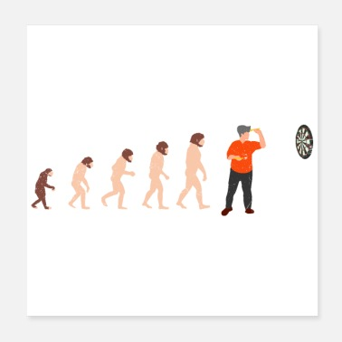 Darwin Human evolution dart player Grappig geschenkidee - Poster