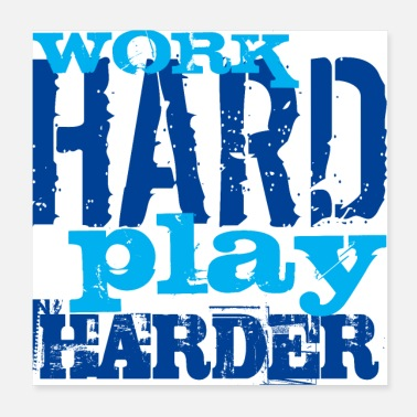 Gamepad WORK HARD PLAY HARDER - Poster