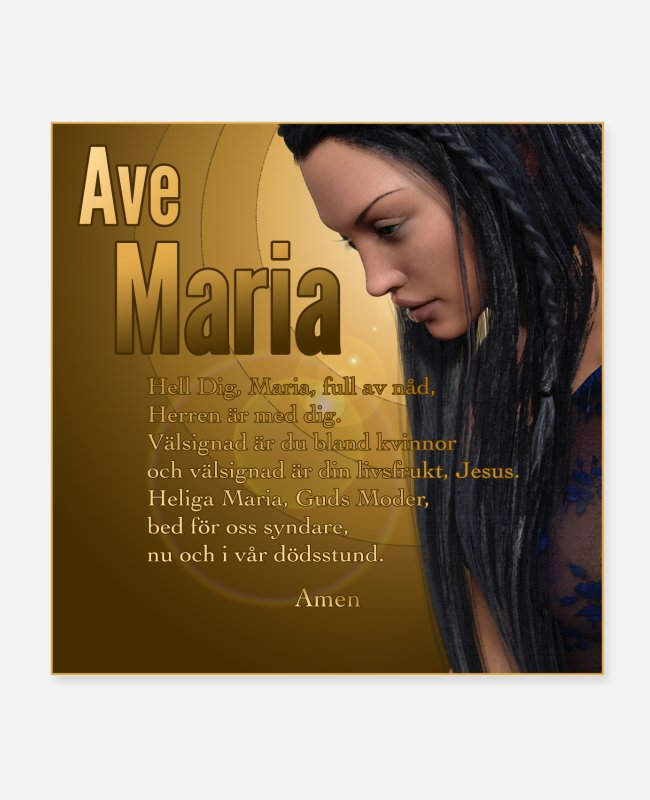 Jesus Posters - Hail Mary - Ave Maria - The prayer in Swedish - Posters white