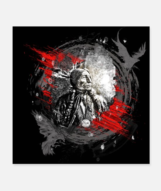 Usa Posters - Indian chief modern art - Posters white