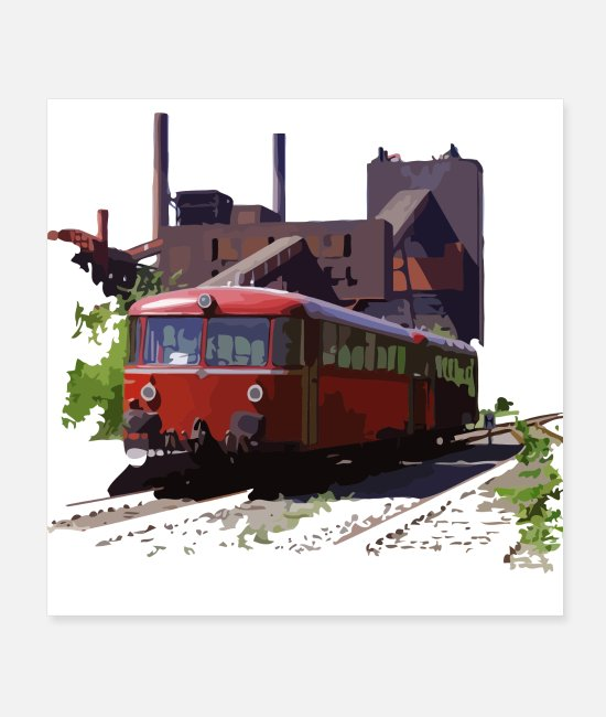 Bochum Posters - Rail bus, 1970s Ruhr area, train, train - Posters white