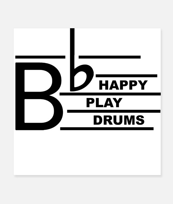 Hardrock Poster - Be Happy Drums - Poster Weiß