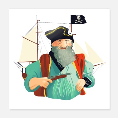 Graphic Pirates Pirate and his boat - Poster