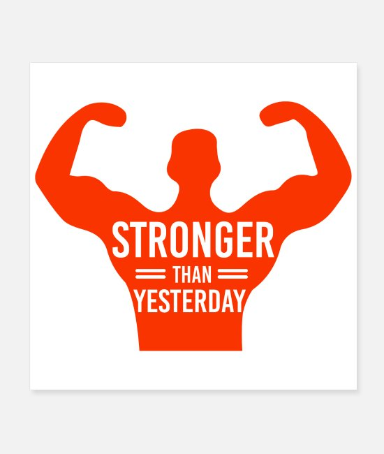 Building Poster - Funny Gym Stronger Than Yesterday Geschenkidee - Poster Weiß