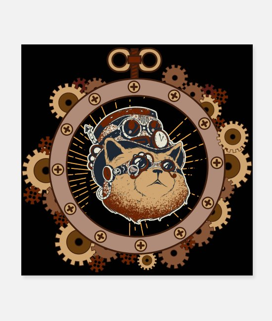 Convention Posters - Steampunk cat science fiction mechanics - Posters white