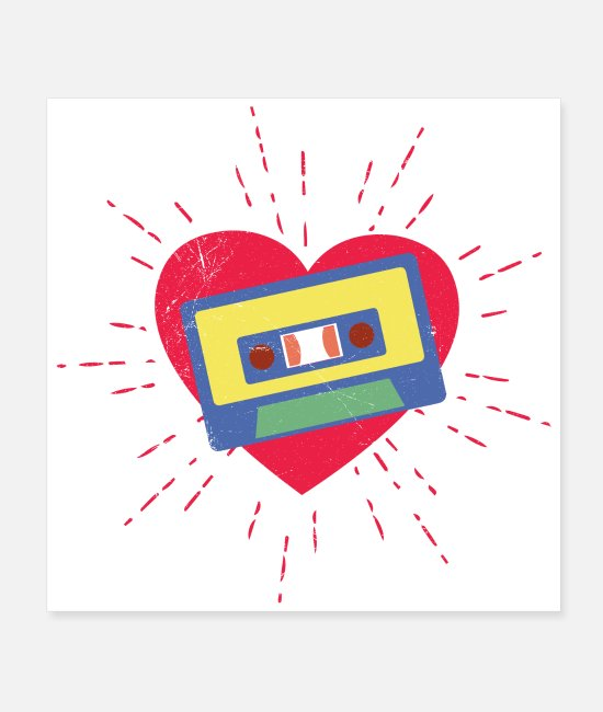 Cassette Posters - Music love cassette 70s 80s gift idea - Posters white