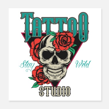 Tattoo Tattoo 💀🌹 schedel roos cadeau - Poster