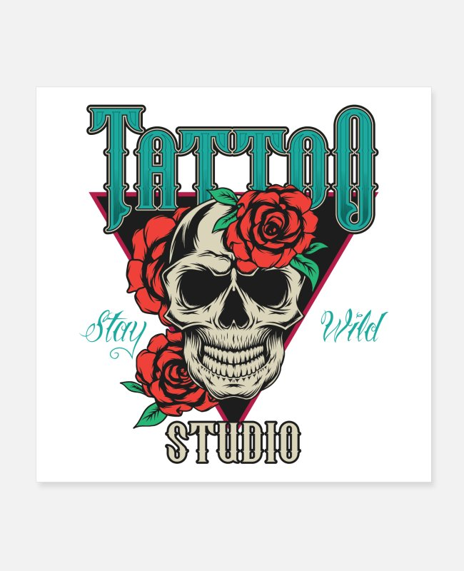 Tattoo Posters - Tattoo 💀🌹 skull rose gift - Posters white
