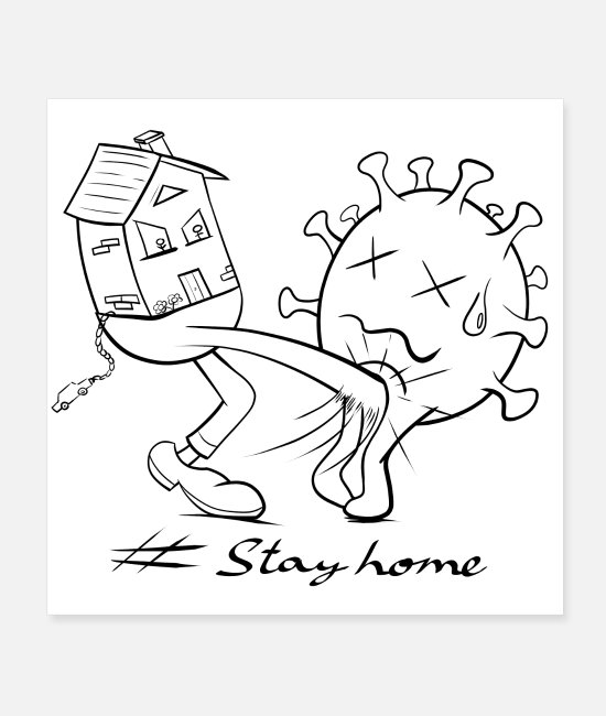Covid Posters - Stay home - Posters white