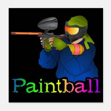 Paintball Paintball player with marker - Poster