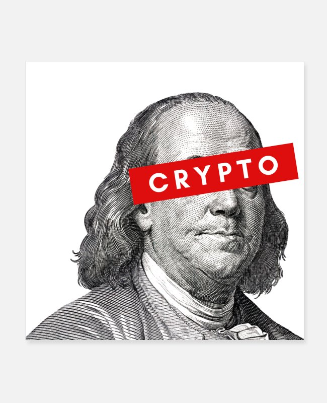 Programmeren Posters - Crypto Benjamin Franklin cryptocurrency Blockchain - Posters wit