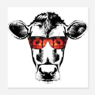 Sweet Cow Cow with sunglasses - Poster